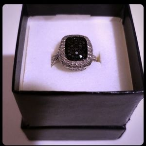 Black And White Diamond Ring. Sterling Silver 6.75